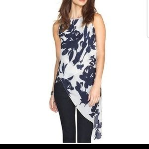 WHBM Asymetical Layered Floral Tank Tunic